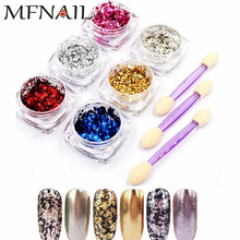 6Jar / 1jar Nail Art Foil Sequins Powder Glitter Flake Mirror Effect Decoration Powder BUY 6 GET 3 Free Puff Brush Tool Kit