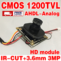 11.11 de Color HD 1/4 CMOS FH8510 + BY3006 Monitor chip mini módulo Analógico 1200TVL 960 P ahdl Terminado 3.6mm lente de vigilancia de productos