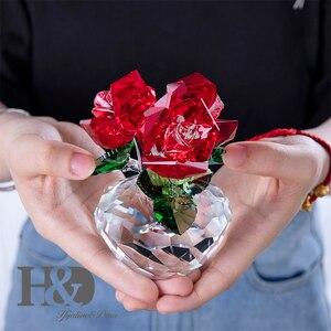 Image 3 - H & D czerwona róża kryształowa bukiet kwiaty figurki ozdoba z pudełkiem dekoracja ślubna przycisk do papieru walentynki prezent
