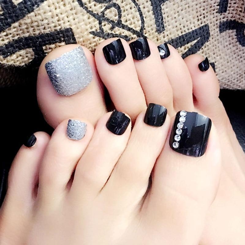 Fshall 24X Fashion Foot False Nail Tips Fake Toes Nails -4374