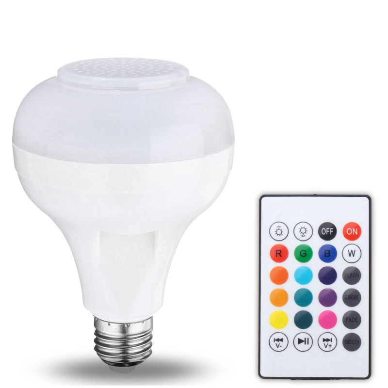 12W LED Lamp Bulb With 24 Keys Remote Control E27 USB Smart RGB Wireless Bluetooth Speaker Bulb Music Playing LED Light Bulb smuxi e27 led rgb wireless bluetooth speaker music smart light bulb 15w playing lamp remote control decor for ios android