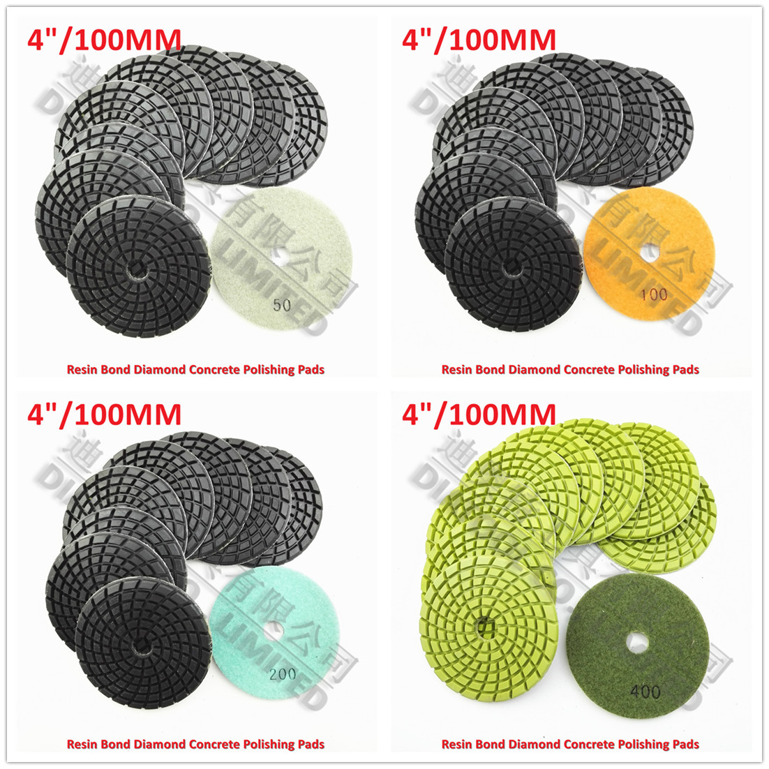 DIATOOL 9pcs Dia 100mm Diamond Resin Bond Concrete Polishing Pads Repairing For Beton Dia 4inch Floor Renew Sanding Discs