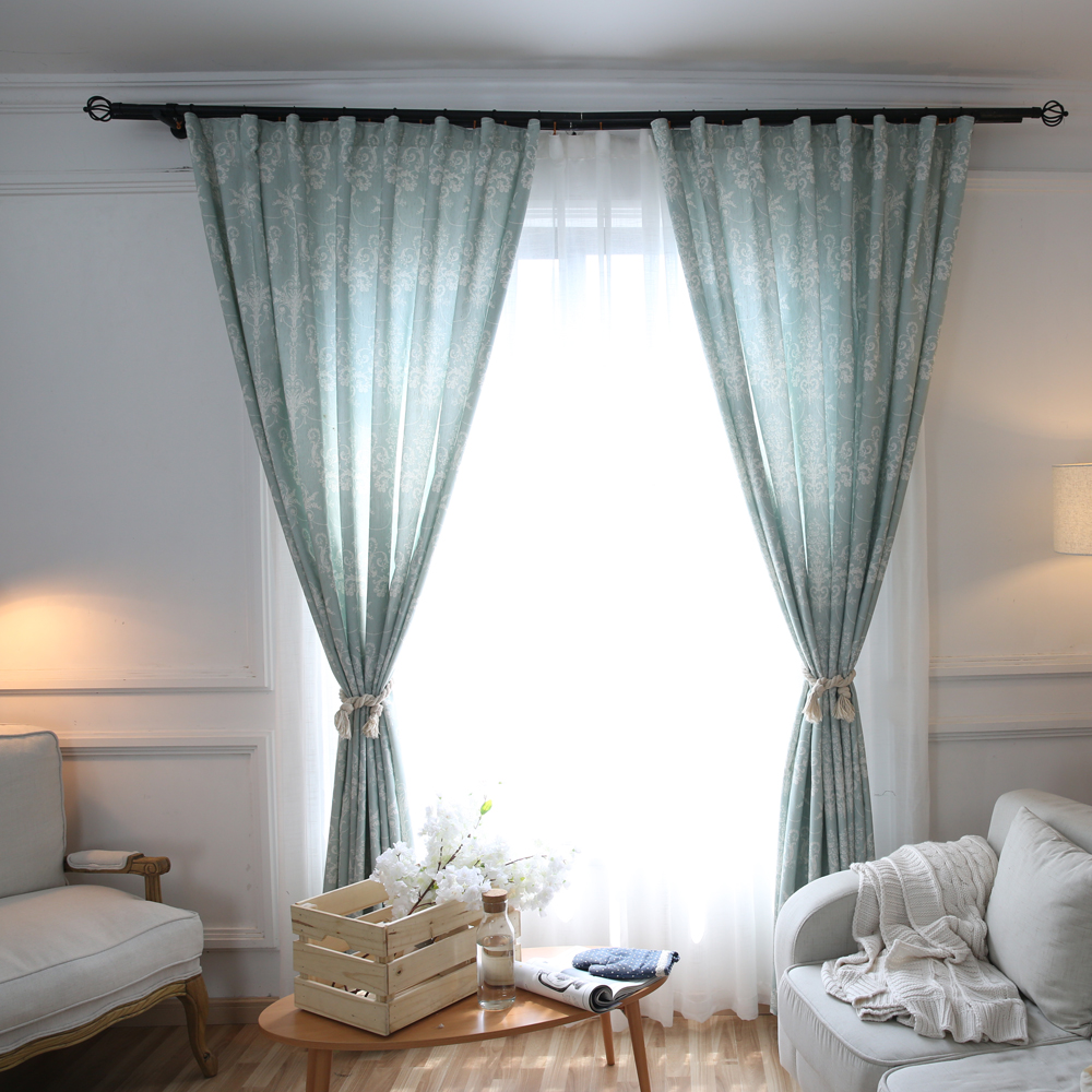 European American Style Mint Printed Curtains For Living Room Window ...