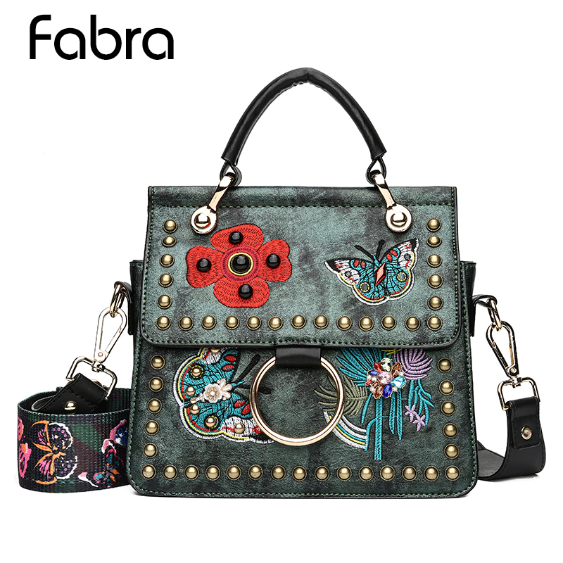 Women Crossbody Bags Vintage Rivets Lady Tote Bags Butterfly Animal Pattern Embroidery Floral Bag Designer PU Leather Handbags butterfly floral pattern wall stickers