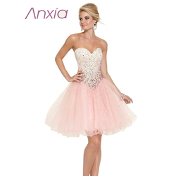 New arrive organza fabric beaded sweetheart short homecoming dress pink elegant ruffled handwork party evening vestidos.jpg 250x250