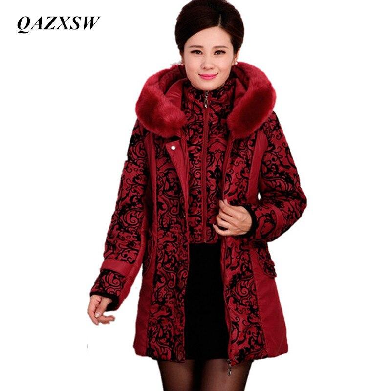 Qazxsw среднего возраста зимняя куртка Для женщин сгущает Теплый Хлопок пальто с подкладкой тонкий плюс Размеры Меховой Воротник Зимнее пальто Женская куртка парка yx8825 winter coat women winter coatcoat women   АлиЭкспресс