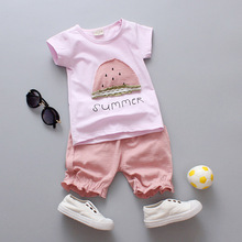 summer new baby clothes for girls children\'s clothing cotton 2pcs printed short-sleeved+shorts pant