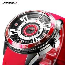 SINOBI 316 ze stali nierdzewnej męska wysokiej jakości zegarki sportowe silikonowe człowiek wojskowy granatowy zegarek kwarcowy lub zegar Relogio Masculino
