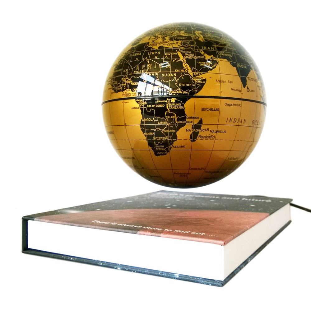 "6"" Magnetic Rotating Globe Anti-Gravity Floating Levitating Earth 360-degree Rotating For Desktop Office Home Decor Gold Color"