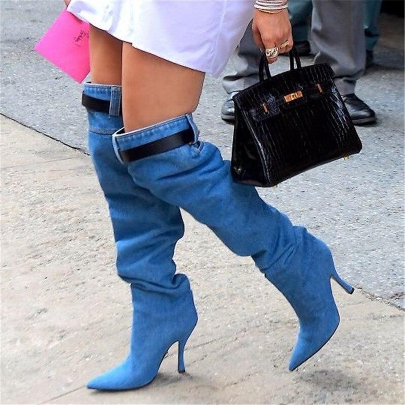 Le Cowboy Chaussures Genou Haute Mode Hauts Talons Pour Cuisse Western Défilé Bleu À Sur Sexy Denim Black Automne Bottes Femmes AESwpOq
