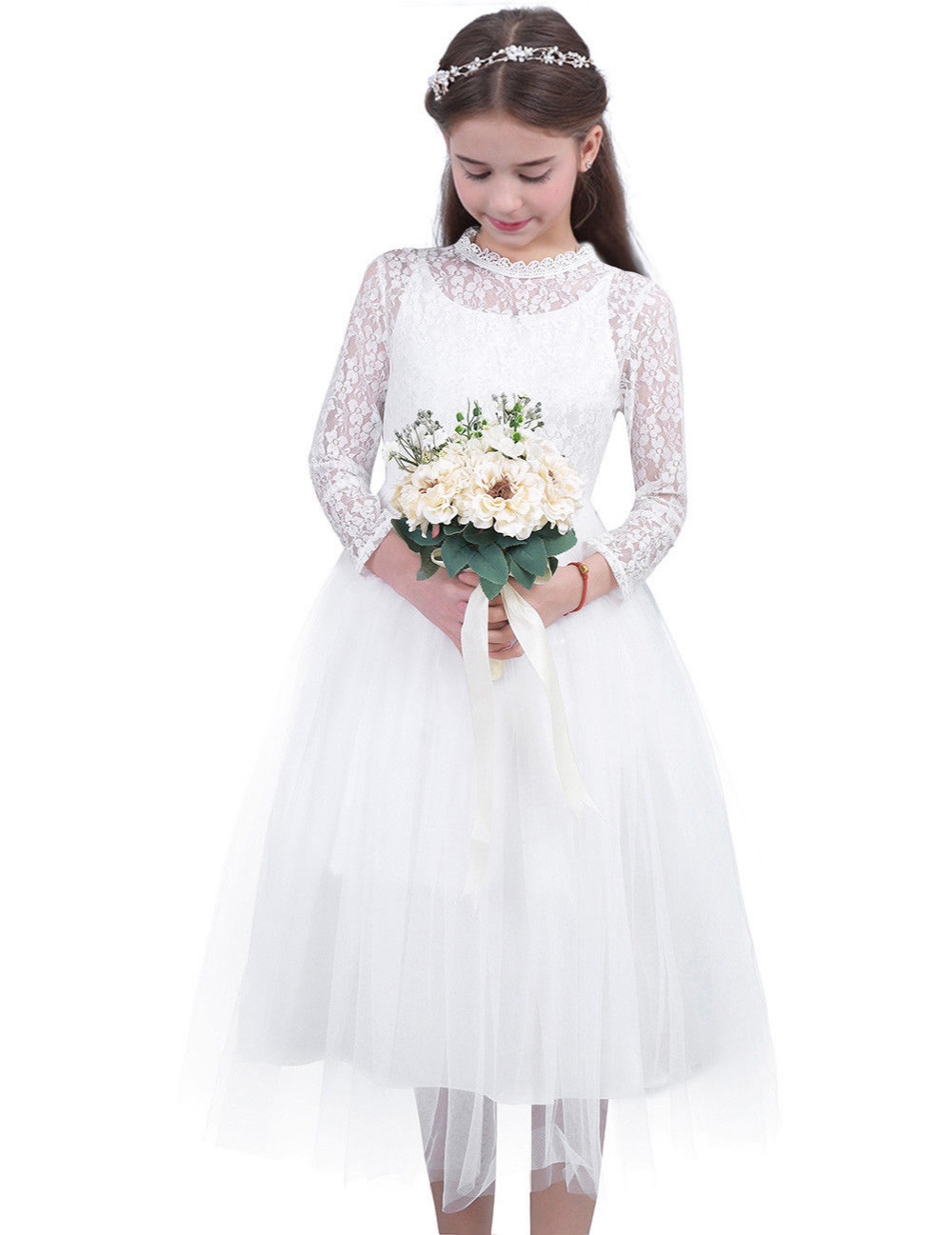 Flower Girl Princess Dress Kids Birthday Party Wedding Pageant Lace Formal Dress Long Sleeve First Communion Dresses for Girls kids girls long sleeve white girl flower dress pageant wedding party formal occasion bridesmaid wedding girls tulle dress