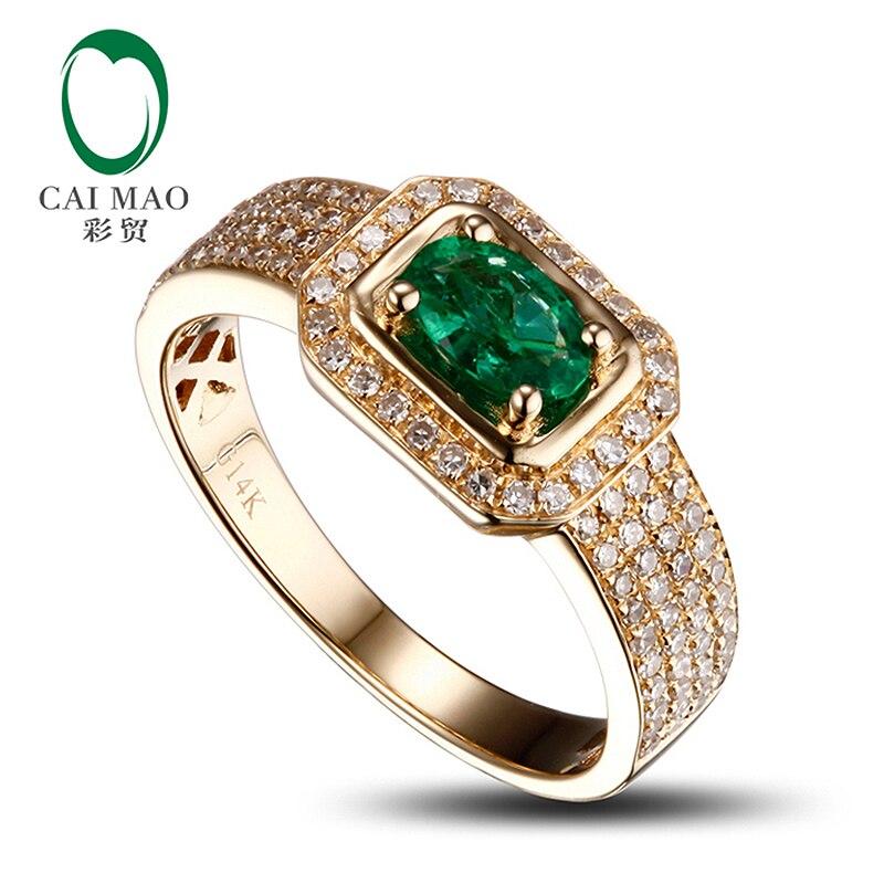 14k Yellow Gold Natural Emerald Diamond Mens Ring