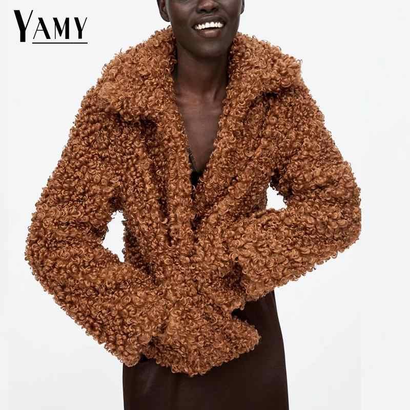 Зимнее пальто из искусственного меха, женский теплый плюшевый пиджак с длинными рукавами, уличная куртка свободного кроя, кардиган, Меховая куртка, одежда оверсайз 2018