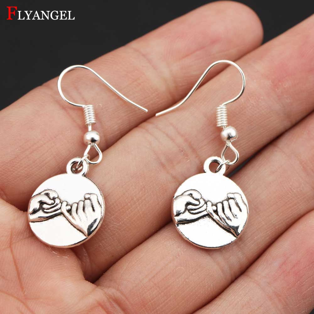 Fashion DIY Jewelry Pinky Promise Antique Silver Color Earring For Women Wife Girlfriend Gift Alloy Simple Dangle Drop Earrings