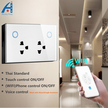 Thai 3 Pin Double WIFI Smart Socket 10A, Glass panel touch Voice and APP control ON/OFF, Can works for Alexa/Google Assistant