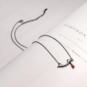 Image 2 - Thaya吸血鬼デザインネックレスS925 シルバーブラックネックレス赤ドロップペンダントネックレス女性手作りハロウィンジュエリーギフト