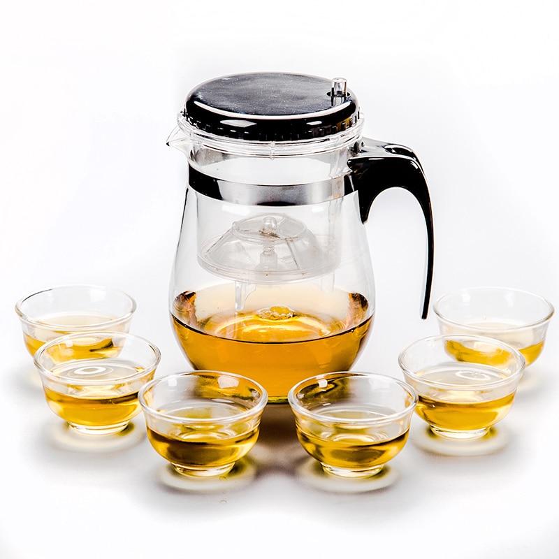 Glass Tea Pot Set Infuser Teapot + 6 Teacup Chinese kung fu Tea Set Puer Kettle Coffee Glass Maker Office Home Use D028