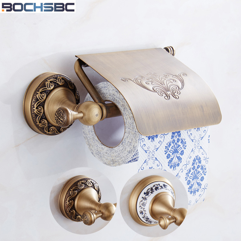 BOCHSBC Toilet Roll Paper Holder European Classic Antique Embossed Base Bronze Paper Towel Holder Bathroom Toilet Roll Holder apl 6411 12 bathroom classic brass paper holder towel ring with lotus carving base bronze