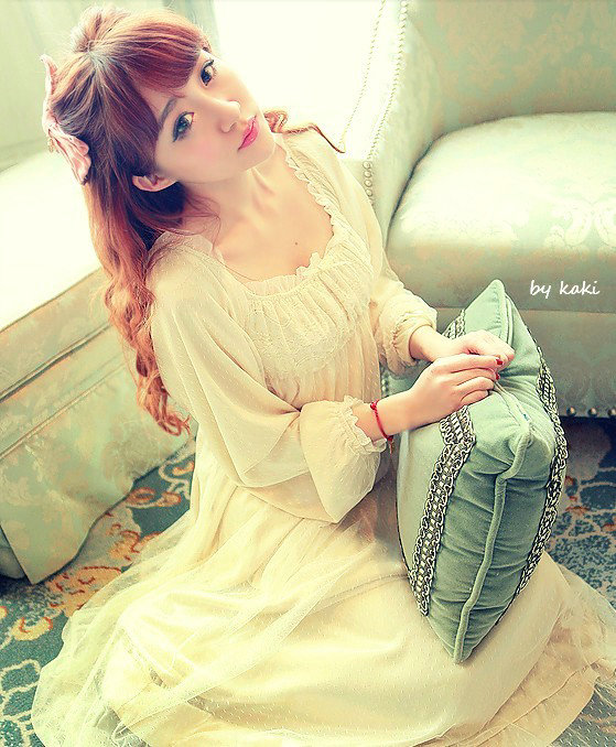 2018 New Pyjamas Frincess Nightdress Womens Cotton Long Nightgown Home Wear Nightshirt AW311
