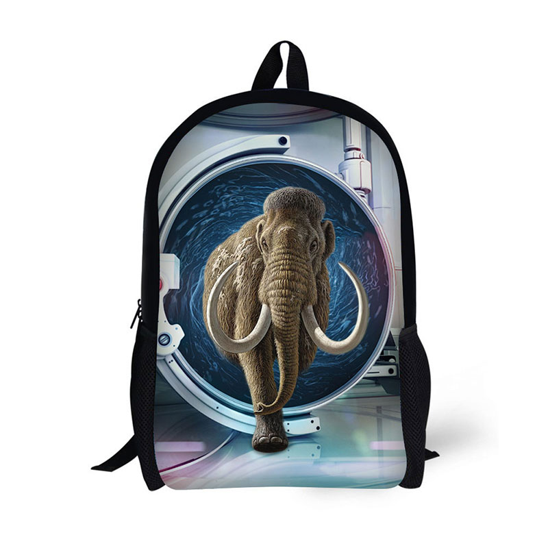 AnyFocus Backpack Through animals Pattern for Teenagers Cool School Bags for Boys Mochilas Rucksack 3D Printed Bookbags Pack
