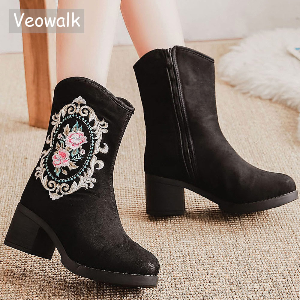 Veowalk Synthetic Suede Women Embroidered Short Ankle Chunky Boots Autumn Winter Retro Ladies Comfort Block Heel Booties Shoes