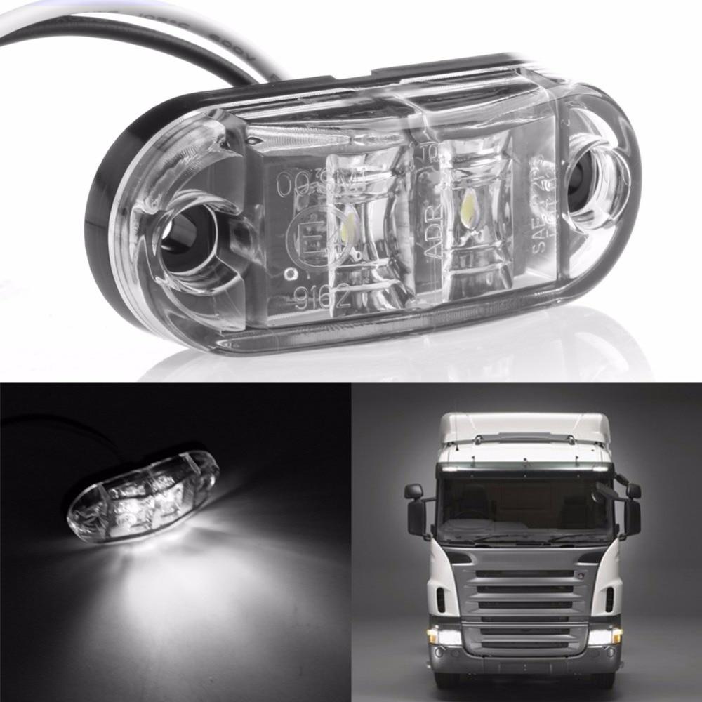 1 PC White 2LED Side Marker Clearance Light Lamp Car Truck Trailer Caravan 10-32V