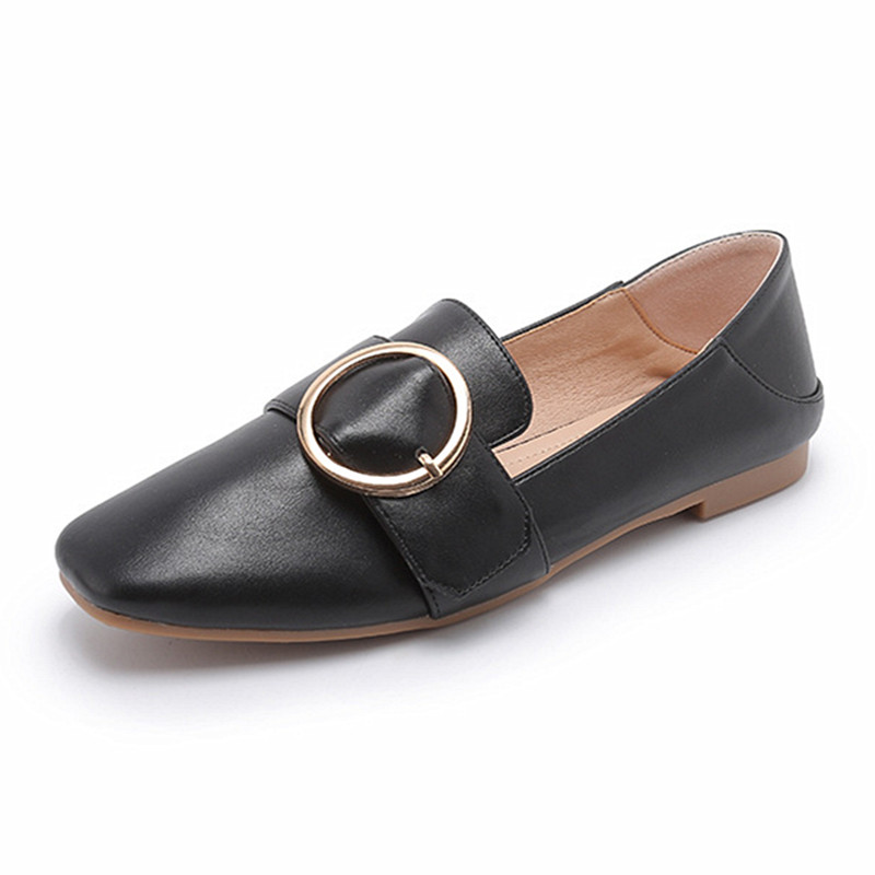 Metal Buckle Flats Shoes Women Big Shoes Size 42 43 Loafers 2019 Sqaure Toe Flat Shoes Ladies Girls Spring Autumn Preppy Shoes