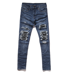 2017 fashion high street destroyed jeans hole casual pants ankle cool blue jogger damage jeans rock star skinny ruched jeans