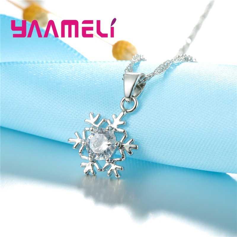 Berkualitas Kepingan Salju Women 925 Sterling Silver Jewelry Set Bening Cubic Zircon CZ Kristal Liontin Kalung Anting-Anting Hadiah Pesta