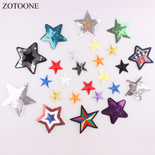 ZOTOONE 10PCS Sequin Variety Star Patch Embroidered For Clothes Iron On Cartoon Motif Applique Hat Bag Garment Accessory