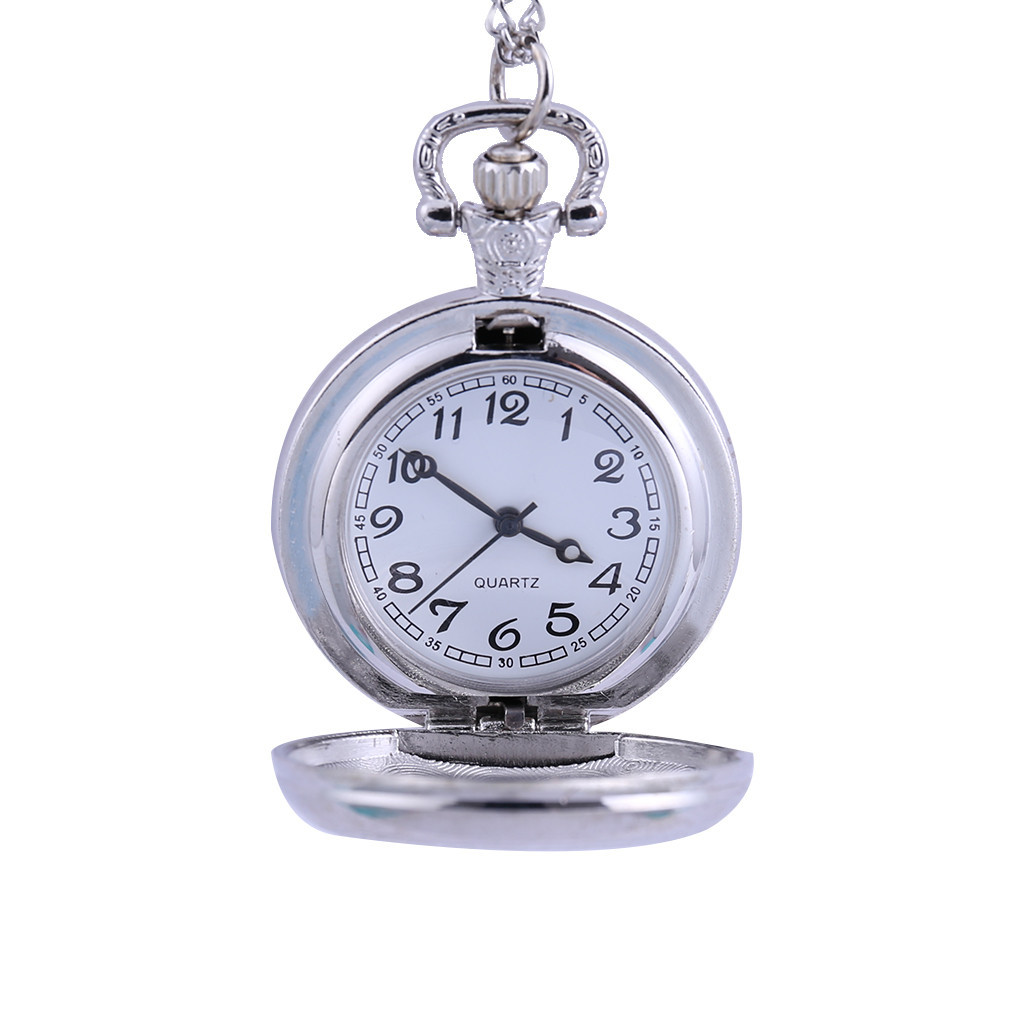 Featured Couple Pocket Watch Silver Groove Versatile Clothing Chain Pocket Watch Relogio Masculino Reloj Hombre Bayan Kol Saati