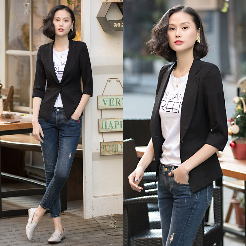 Summer small suit jacket female thin section 2018 new summer casual Slim black small suit short paragraph