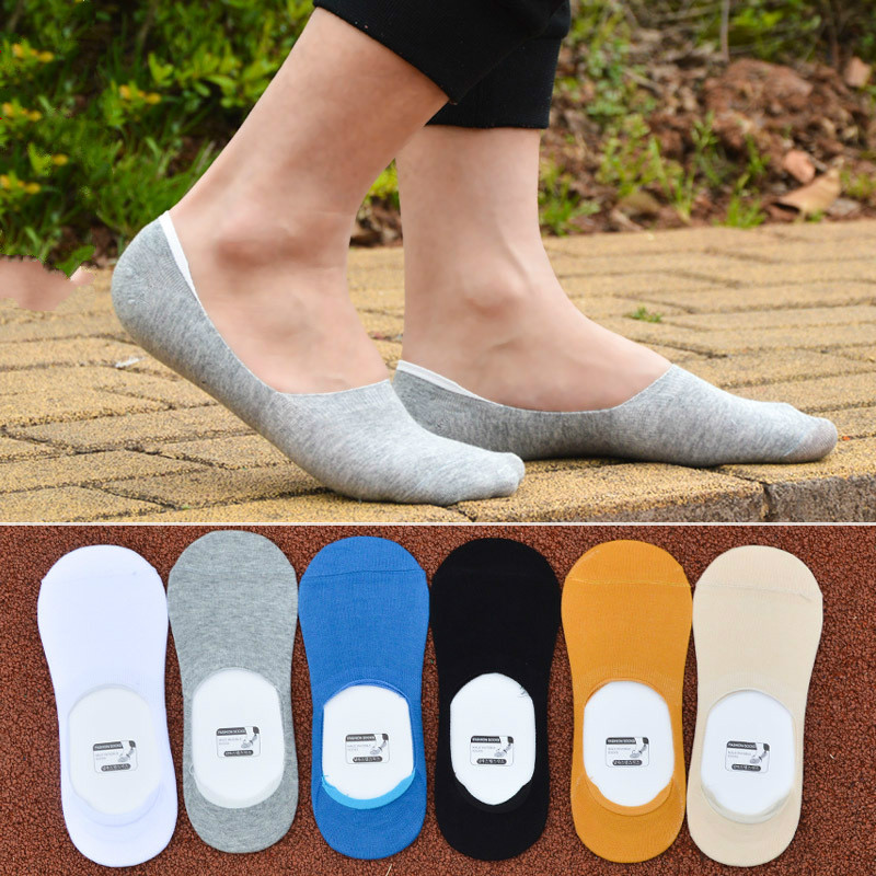Mens Summer Solid Cotton Socks No Show Non Slip Socks for Meetting Business
