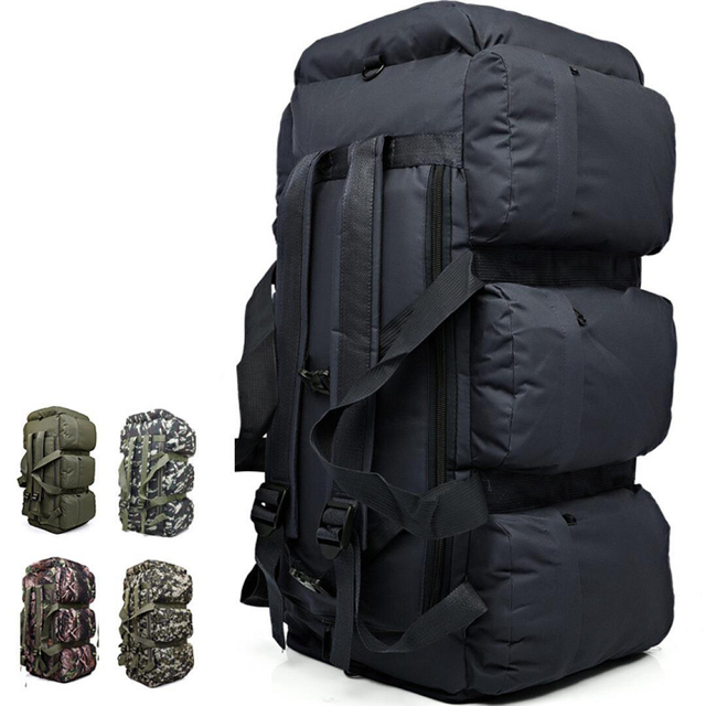 Outdoor Large Capacity Army Tactical Backpacks Camouflage Mountain Climbing Military Backpack Duffle Bag Hiking 9 Pockets  90L