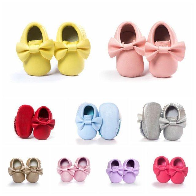 Baby Girls Shoes Tassels PU Leather Waterproof Baby Shoes Newborn Moccasin Soft Infants  Prewalker 18 colors 2