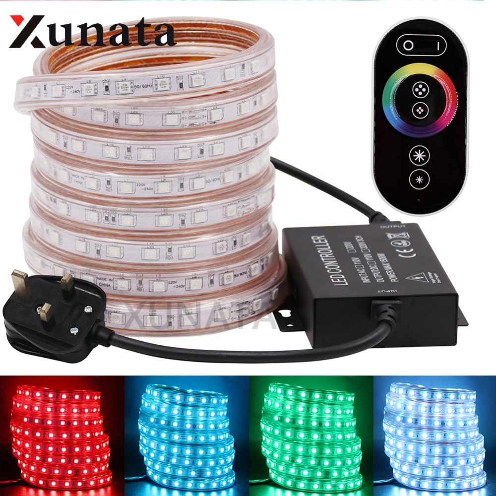 1m~100m 220V EU/UK 60LEDs/m 5050 RGB LED Strip Outdoor Lamp Waterproof Flexible RGB LED Light With Touch Controller 110V US Plug