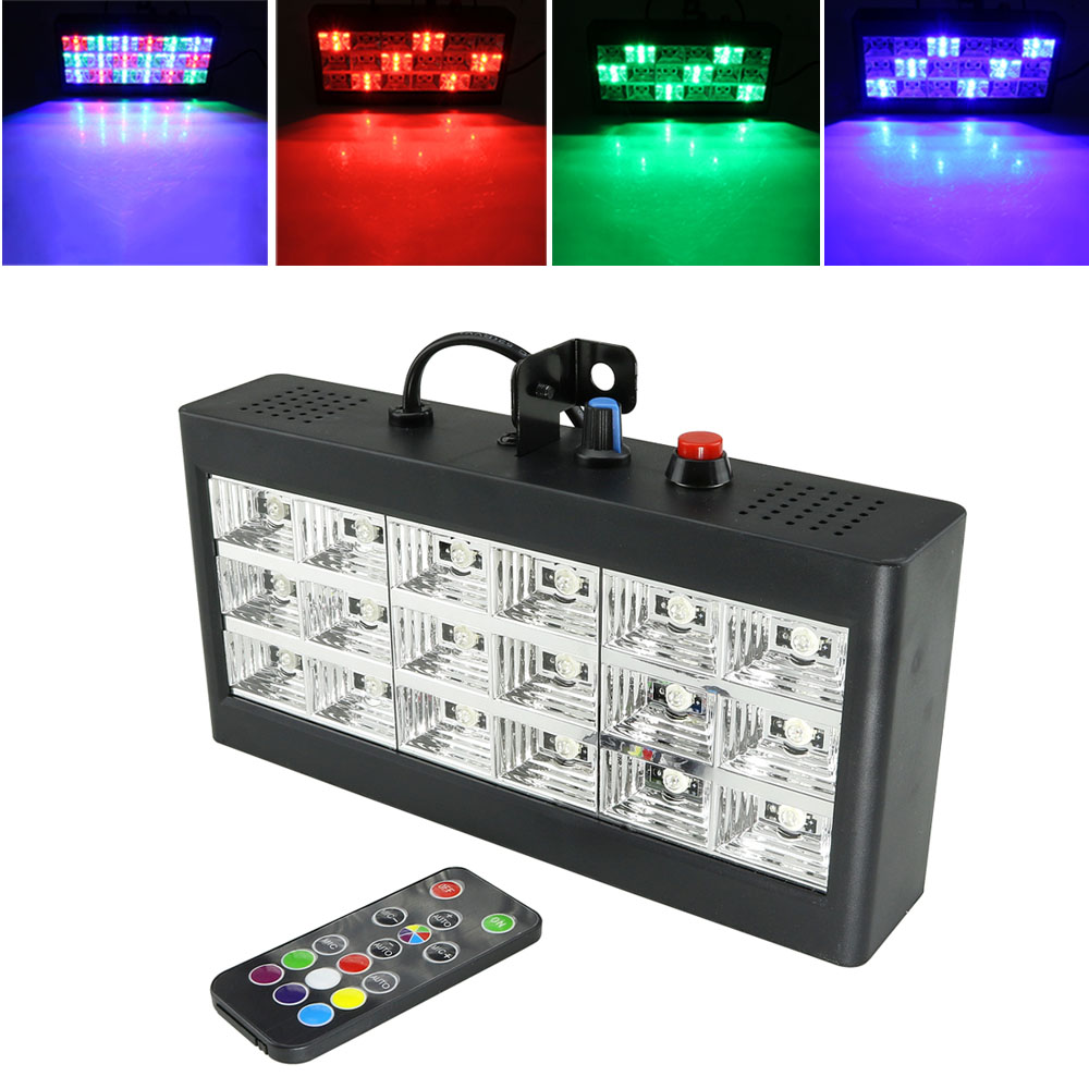 18 LED Strobe Stage Lighting Effect  RGB Sound Remote Control for Disco DJ Bar Holiday Party Christmas Flash Sound Active Light-in Stage Lighting Effect from Lights & Lighting
