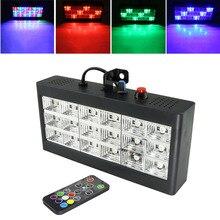 18 stroboskop led efekt oświetlenia scenicznego dźwięk RGB pilot do Disco DJ Bar przyjęcie świąteczne boże narodzenie Flash dźwięk aktywne światło