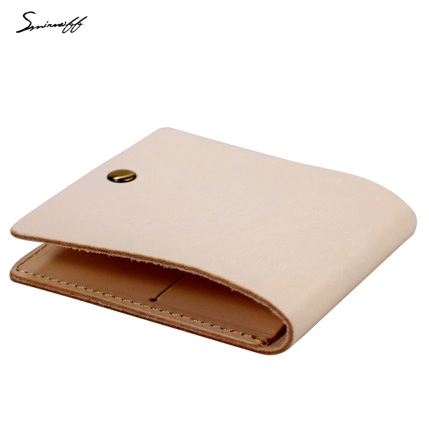 Genuine Leather Wallet Women and Men Minimalist Original Color Vegetable Tanned Leather Purse Handmade Custom Photo Gift Wallet