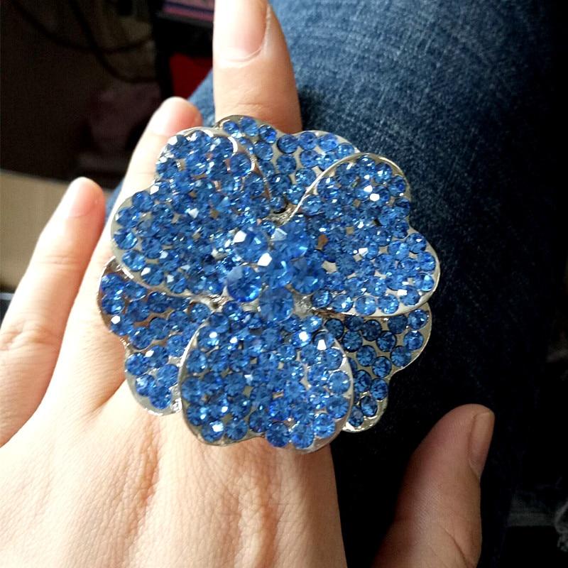 Moda pretirano velik srčni kristalni cvet elastičen prstni prstan - Modni nakit - Fotografija 3