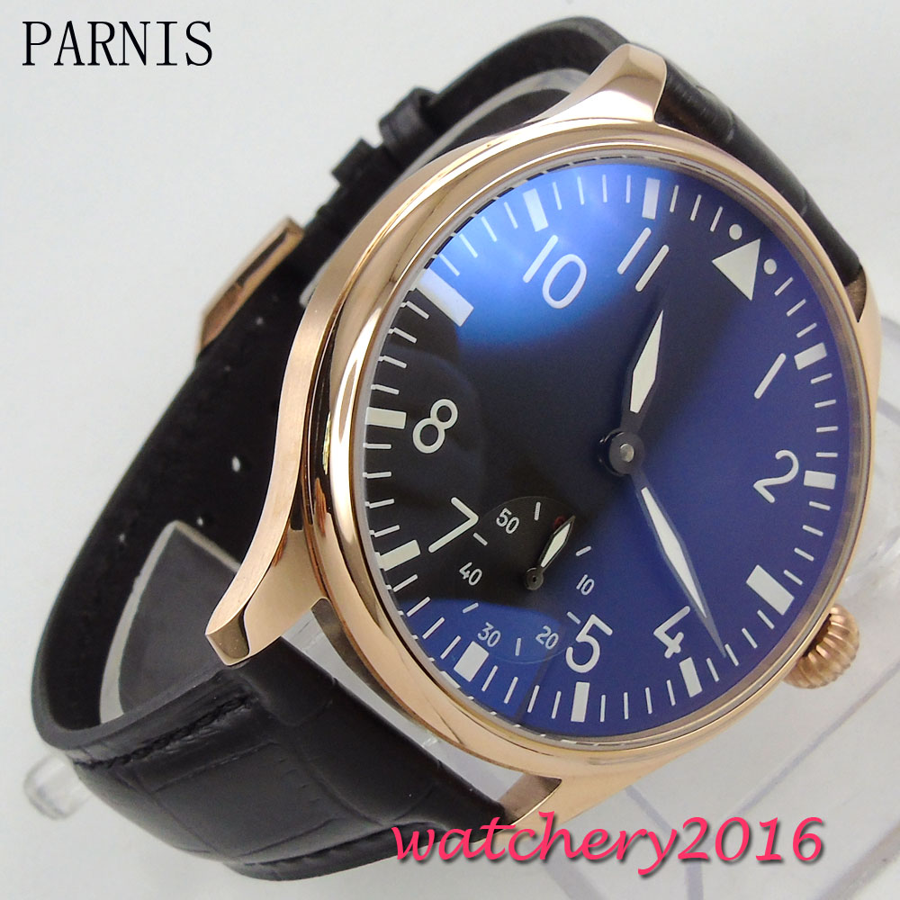 44mm Parnis black dial Leather strap rose golden case hand winding 6498 movement Men's Watch цена и фото