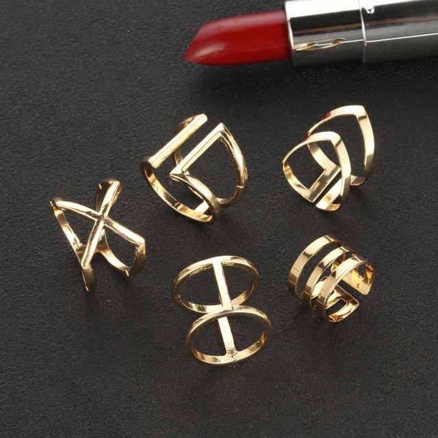 5 Pcs/ Set Classic Gold Rings 2