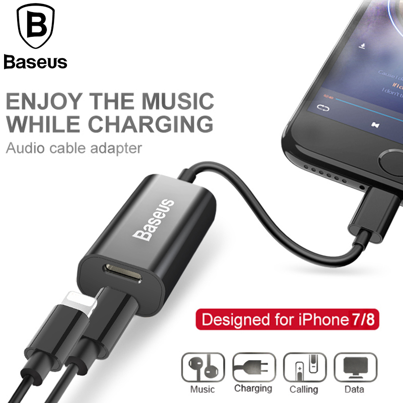 Baseus 2in1 Audio Cable Adapter For iPhone 8 7 Extension Cable Splitter For Charging Calling Data transmit Earphone Music Cable two in one audio earphone charging transfer cable