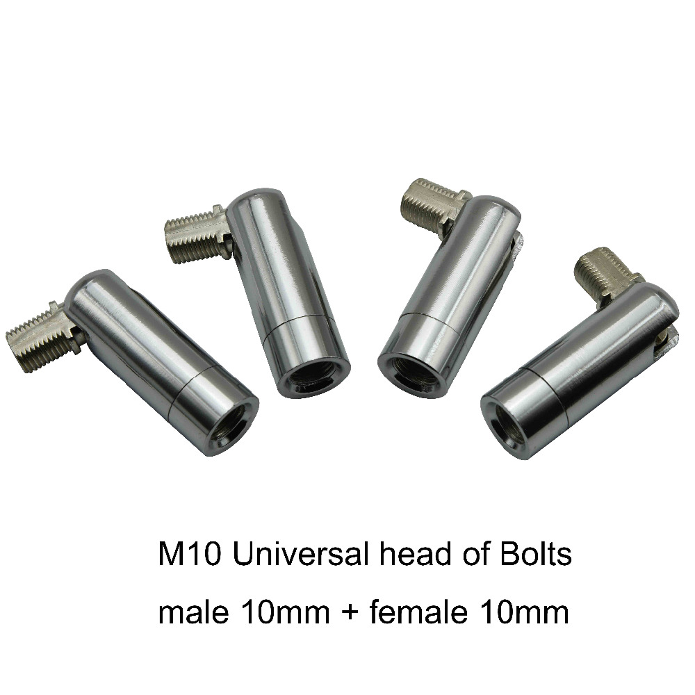 20 штук m10 Универсальный глава Болты 10 мужской/женский Нитки зуб трубки для люстра коридор/крыльцо/бар цоколи хромирование