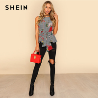 SHEIN Self Belted Floral And Plaid Shell Top Women Fashion Round Neck Sleeveless Casual Blouse 2018 Summer Vacation Blouse 3