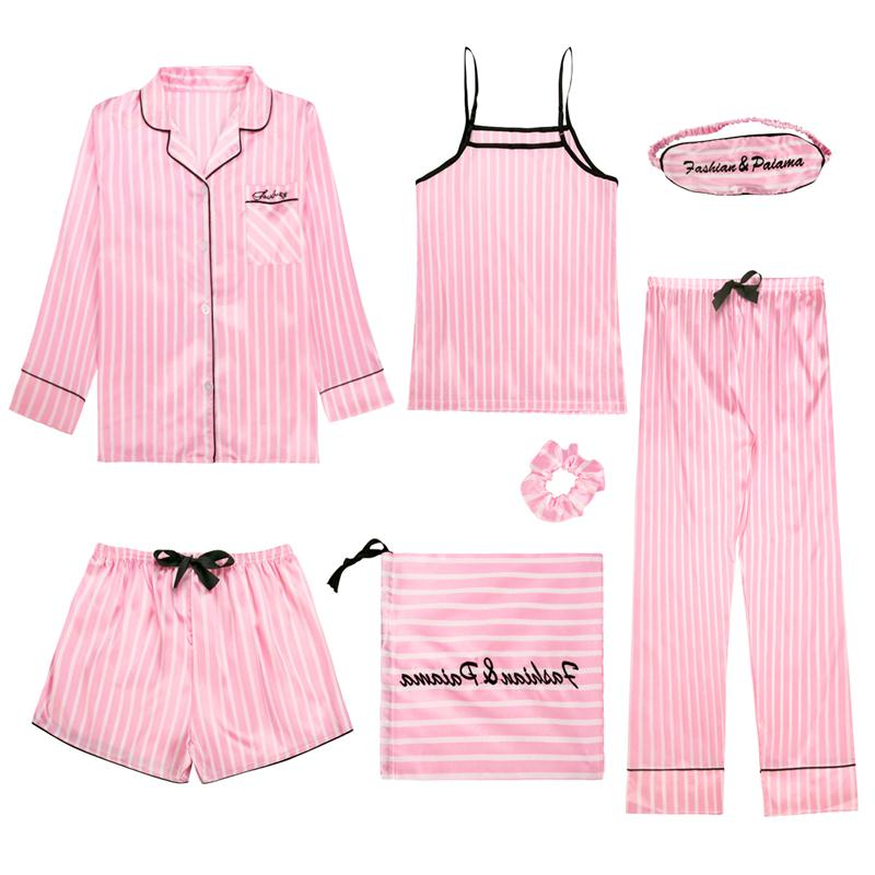 Spring Summer 7 Pcs Set Silk Elegant 2019 Women Pajamas Print Shorts Long Sleeve Top Elastic Waist Pants Full Lounge Sleepwear