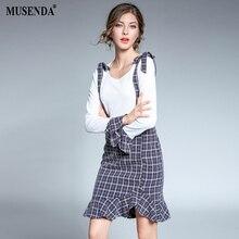 Musenda плюс Размеры Для женщин лоскутное плед Туника оборками платье 2017 осень, для женщин Офисные женские туфли платья Костюмы халат костюмы Vestido