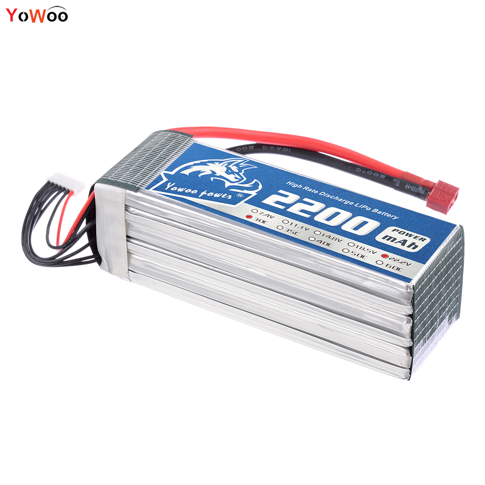 YOWOO 22.2V Lipo 6s Bateria 2200mAh 30C Max 60C RC Battery Drone AKKU For RC FPV Helicopter Boat Quadcopter Car UAV FPV f04305 sim900 gprs gsm development board kit quad band module for diy rc quadcopter drone fpv