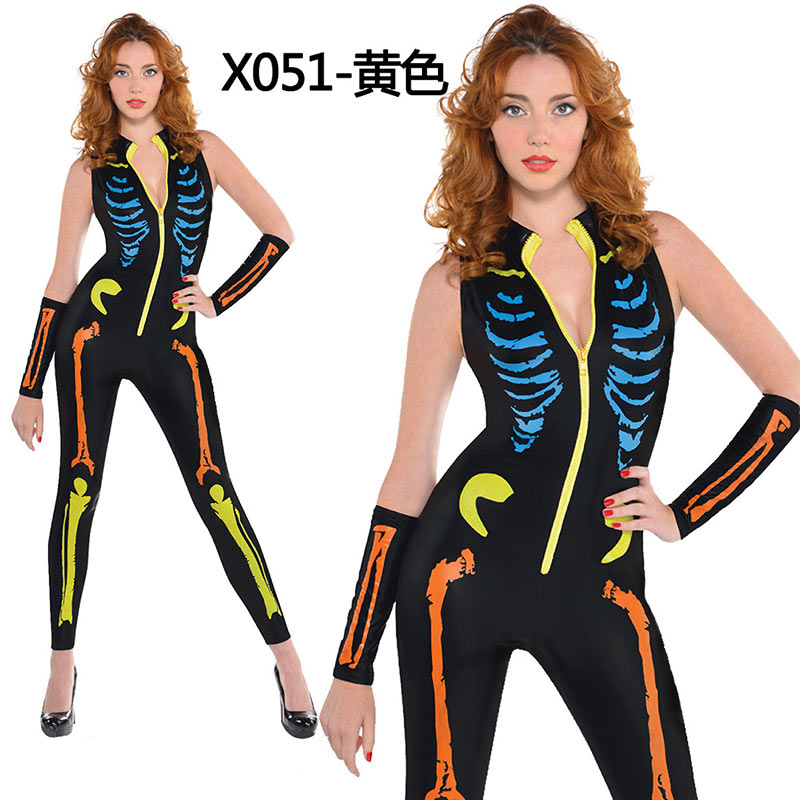 Women Halloween Jumpsuits Costumes Ghost Festival Horror Skeleton Conjoined Gowns Party Sexy Performance Rompers Cosplay Clothes (3)