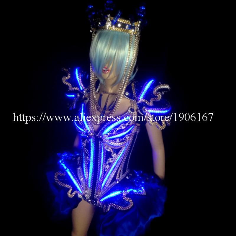 Led Luminous Sexy ženy Ballroom kostým LED DJ noční klub Party večerní šaty Crystal šaty pro taneční jeviště Zobrazit Bar rekvizity  t